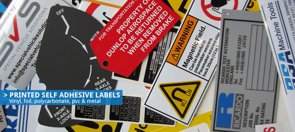 Printed self adhesive labels